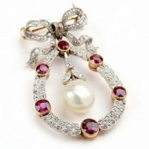 wedding photo - Edwardian Platinum Topped Gold, Ruby, Diamond, And Natural Pearl Brooch
