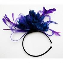 wedding photo - Cadbury Purple & Royal Blue Feathers Fascinator Headband