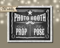 wedding photo - Printable Western Photo booth Sign 5x7, 8x10 AND 11x14 - DIY chalkboard photo booth sign