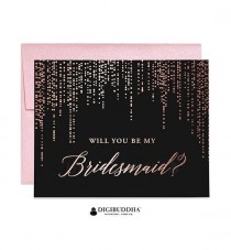 wedding photo - Rose Gold Foil Will You Be My Bridesmaid Card Maid Of Honor Ask Bridesmaid Black Paper Real Foil Flower Girl Card Shimmer Envelope WC0008