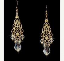 wedding photo - Gold Chandelier Earrings With Swarovski Crystals