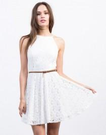 wedding photo - Belted Flared Lace Dress