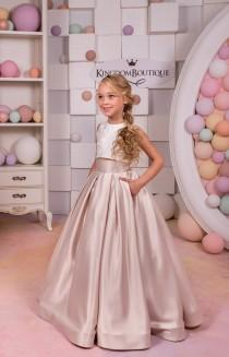 wedding photo - Ivory Cappuccino Lace Satin Flower Girl Dress - Wedding Party Holiday Birthday Bridesmaid Flower Girl Blush Satin Lace Dress 15-047