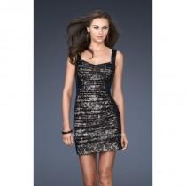 wedding photo - Black/Nude La Femme 16940 - Lace Sequin Dress - Customize Your Prom Dress