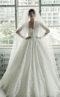 wedding photo - Strapless Embroidered Empire Waist Ballgown Wedding Dress