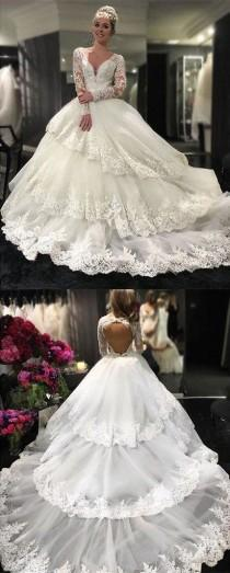 wedding photo - Gorgeous Long Sleeve V-neck Open Back Lace Ball Gown Wedding Party Dresses, PD0260