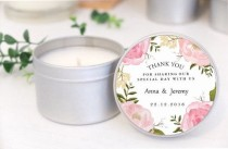 wedding photo - Personalised Wedding Favours / Bomboniere. Soy Candle Tins. Pink Floral Design By Mahina