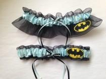 wedding photo - Light Blue & Black Batman Wedding Garter Set - Plus Size Also Available