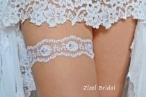 wedding photo - White Wedding Garter, Bridal Garter Set, Keep Wedding Garter, Blue Pearl Garter, Wedding Gift, White Lace Garter, Something Blue, Garter Set