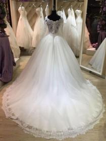 wedding photo - Bateau Neck Long Illusion Sleeve Tulle Ball Gown With Lace Hemline-ET_711506