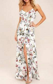 wedding photo - Bloom On Ivory Floral Print Maxi Dress