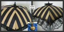 wedding photo - VICTORIAN PARASOL Umbrella in Black/Gold Stripe with Black Fringe or Lace Ruffle Bridal Steampunk Second Line Wedding Civil War Edwardian