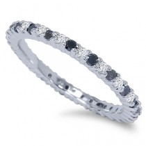 wedding photo - Black & White Diamond 1/2CT Eternity Ring 14K White Gold