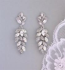 wedding photo - Bridal Chandelier Earrings, Crystal Leaf Earrings, SILVER or GOLD Earring Option, Bridal Jewelry, Wedding Jewelry, EMERALD