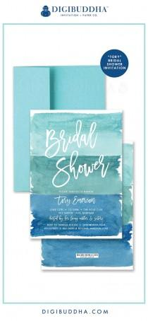 "wedding photo - ""Tory"" Turquoise Watercolor Bridal Shower Invitation"