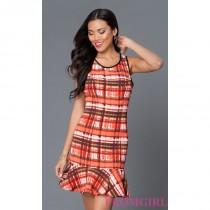 wedding photo - Short Plaid Career Dress 9395PLY5 by XOXO - Brand Prom Dresses