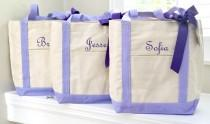 wedding photo - Set of 3 Personalized Wedding Bridesmaids Tote Gifts in Purple OR Teal  LARGE SIZE