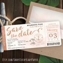 wedding photo - Rose Gold Watercolor Destination Nautical Cruise Wedding Boarding Pass Save The Date by Luckyladypaper - see Item Details Tab to order