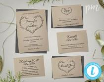wedding photo - Kraft Wedding Invitation Template, Rustic Wedding Printable Invitation, Rustic Invitation, Editable Invitation, Instant Download
