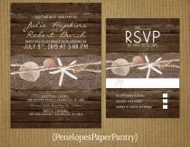 wedding photo - Destination Beach Wedding Invitations,Sea Shells,Star Fish,Nautical,Ocean,Rustic Wood Background,Simple,Opt RSVP,Customizable with Envelopes