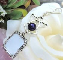 wedding photo - Wedding bouquet photo charm - Purple Pearl Angel photo charm. Bridal bouquet charm. Memorial Photo charm. Bridal shower gift for a bride.