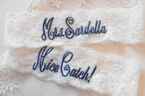 "wedding photo - MONOGRAMMED Wedding Garter Mrs. Toss With Phrase ""You're Next! Bridal Garter Floral Stretch Lace Bridal Garter Single Garter"