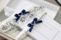 wedding photo - navy blue wedding garter set, navy blue garter set, navy blue wedding, something blue for bride, something blue garter set, plus size garter