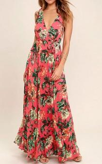 wedding photo - Countryside Manor Coral Red Floral Print Maxi Dress