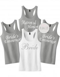 wedding photo - Bridesmaid Shirts With Custom Date or Name.Bridesmaid Tanks.Bachelorette Party Tanks.Bachelorette Shirts.Bride Tank Top Shirt.Wedding Shirts