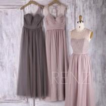 wedding photo - 2017 Mix Match Bridesmaid Dress, Long Mismatch Wedding Dress with Beading, Ruched Evening Gown, A Line Prom Dress Full (FS352/L230/L229)