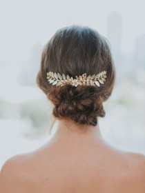 wedding photo - Gold Leaf Hair Comb