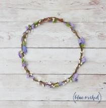 wedding photo - Wildflower Crown, Purple Flower Crown, Thin Flower Crown, Delicate Flower Crown, Silk Flower Crown, Simple Flower Crown, Boho Wedding