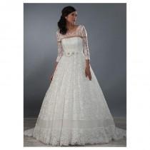 wedding photo - Exquisite Lace Scoop Neckline A-line Wedding Dresses with Beadings & Rhinestones - overpinks.com