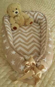 wedding photo - Babynest Beige Baby Nest Bed Newborn Baby Carrier Organic Cotton New Sleep Cocoon Baby Boy Baby Girl Toddler Nest Co Sleeper Crib Positioner