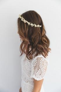 wedding photo - cream gold rose, leaf & berry flower crown // cream gold leaf crown / cream gold flower crown / cream gold / wedding gold flower crown