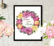 wedding photo - Grace Bible illustration, Typography, Bible verses, flowers painting, calligraphy, watercolor painting,fashion illustration, floral painting
