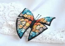 wedding photo - Hand embroidery butterfly brooch Flower embroidery felt brooch Colorful fabric butterfly jewelry Embroidery art fiber brooch Butterfly pin