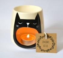 wedding photo - Cat Oil Burner - Black Cat Lover Gift - Wax Melter - Cat Lady Gift - Candle Holder - Tea Light - Illustration - Cats - Kitten Art - Kitten
