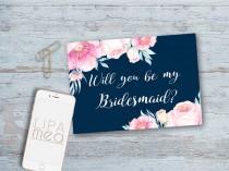 wedding photo - Bridesmaid Card, Bridesmaid Proposal Card Printable, Will you be my Bridesmaid, Maid of Honor, Boho Floral Bridesmaid Cards, Pink & Navy
