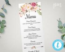 wedding photo - Wedding Menu Template, Printable Menu, Floral Wedding Menu Template, Wedding Dinner Menu, Instant Download, Edit in Our Web App