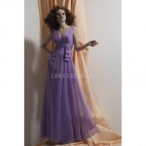 wedding photo - V Neck Empire Chiffon A line Summer Purple Bridesmaid Dress - Compelling Wedding Dresses