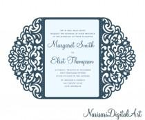 wedding photo - Ornamental 5x7'' Gate-fold Wedding Invitation Card Template, Quinceanera, laser cut, Vector SVG cutting file, Silhouette Cameo, Cricut
