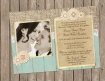 wedding photo - Rustic Wedding Invitation in Sea Foam Green with Burlap, Lace and Vintage Brooch - printable 5x7