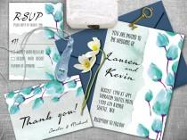 wedding photo - Watercolor wedding invitation. Invitation wedding kit, Printable wedding invitations set. Wedding invitations, RSVP, Thank you card