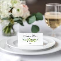 wedding photo - wedding tented place cards green wedding name cards printable greenery leafy garden wedding placecards wedding seating escort cards flodable