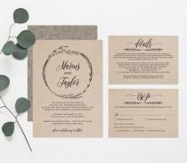 wedding photo - Printable Wedding Invitation Template, Rustic Wreath Wedding Invite, RSVP & Detail Card, Instant Download, Editable Text. PDF File #022A
