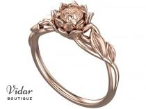 wedding photo - Flower Engagement Ring,Unique Engagement Ring,Gemstone Engagement Ring,Leaves,Lotus,Morganite,Solitaire Ring,floral,swirl,White gold Ring