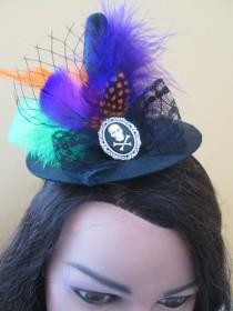 wedding photo - Mini Witch Hat Fascinator, Black Witch Hats, Witch Hat Costume, Flower Headband, Photo Prop, Baby Headband, Halloween Tea Party Hat