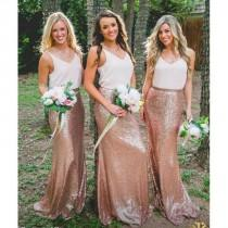 wedding photo - White Top Rose Gold Seuin Long Wedding Bridesmaid Dresses, BG51556 - Custom Size / Picture Color