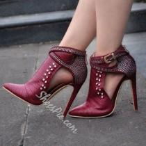 wedding photo - Chic Red Rivets Buckle Fashion Booties
